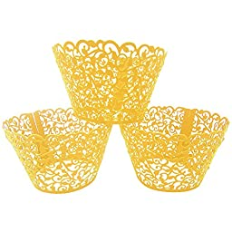 LEFV™ 24pcs Cupcake Wrapper Filigree Little Vine Lace Laser Cut Liner Baking Cup Muffin Case Trays Wraps Wedding Birthday Party Decoration Golden
