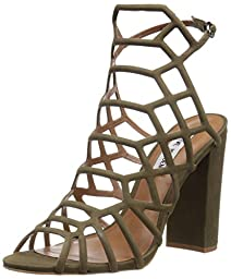 Steve Madden Women\'s Skales Dress Sandal, Olive Nubuck, 7 M US