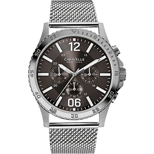 Caravelle New York Mens Gents Caravelle 43A129 Stainless Steel Chronograph Mesh Bracelet Wrist Watch