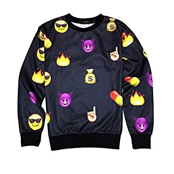 Emoji Black Sweater Women/Men Network Expression Sweatshirt Hoodies