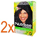2 x Garnier Nutrisse Cream hair color 21 blue/black, for bright, shiny hair