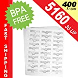"""(400 Sheets; 12,000 Labels), Same Size-Avery© 5160, 30-UP, Address Labels (1"""" x 2-5/8"""") -- BPA Free!"""