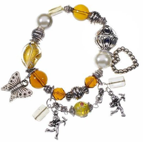 Ornate Ladies Fashion Bracelet, Faux Amber, Pearls and Charms - Gift Boxed