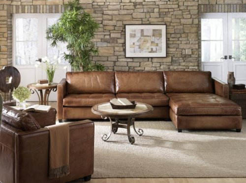 Phoenix 100% Full Aniline Leather Sectional Sofa with Chaise (Vintage Amaretto) 0