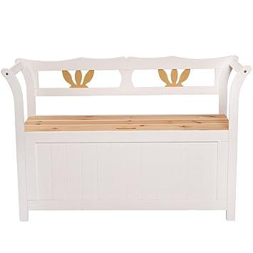 Jago trbk01 cassapanca panchina in legno bianco casa e for Panchina cassapanca