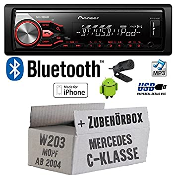 Mercedes C-Klasse W203 MoPf - Pioneer MVH-X380BT - MP3/USB Bluetooth Autoradio - Einbauset