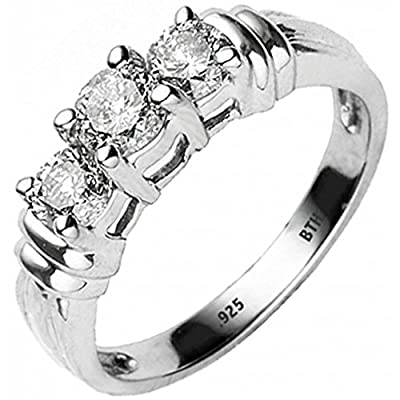 925 Sterling Silver A Stunning Affordable 3 Stone 925 Sterling Silver Wedding Engagement Bridal Ring