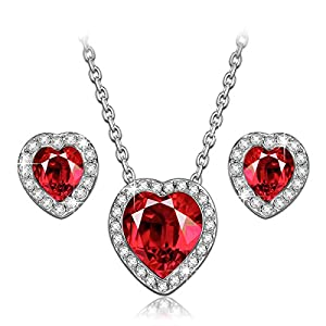 LadyColour -True Love- Swarovski Crystals Ruby Heart Jewelry Set Pendant Necklace and Earring Set