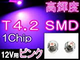 LED★T4.2/1Chip/SMD/1発/ピンク/2個セット / メーター/エアコン/灰皿照明などに★