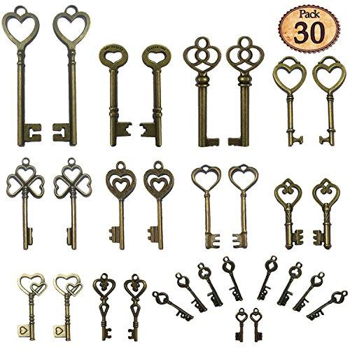 N'joy 30-Piece Mixed Heart Shaped Steampunk Vintage Skeleton Keys,Antique Bronze(HeartB) (Vintage Pieces compare prices)