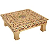 Hari Om Handicrafts Metal Bajot Chowki (40 Cm X 40 Cm X 15 Cm, Gold)