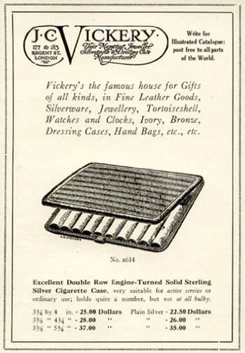 THE NO. B614 STERLING SILVER CIGARETTE CASE IN 1920 J.C. VICKERY OF LONDON AD Original Paper Ephemera Authentic Vintage Print Magazine Ad / Article