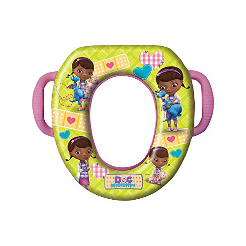 Disney Doc McStuffins Potty Seat - Padded, Soft and Durable - For Regular and Elongated Toilets - Removable Cushion for Easy Cleaning - Firm Grip Handles - Pink and Yellow