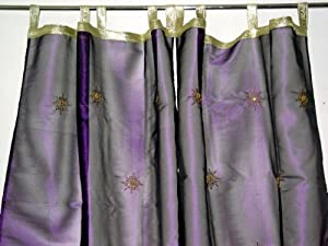 Window Panels Organza Embroidered Gold Burst Sari Curtains