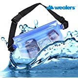 Wealers Waterproof Dry Bag Pouch with Waist Strap Protects Your Phones/camera/cash/documents From Water or Dust and Sand (Blue)