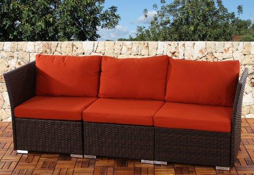 3er Sofa 3-Sitzer Siena Poly-Rattan, Gastronomie-Qualität ~ braun mit Kissen in bordeaux