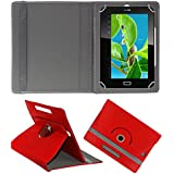 Acm Rotating 360° Leather Flip Case For Datawind Ubislate 7cz Tablet Cover Stand Red