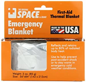 "Grabber Outdoors The Original Space Brand Emergency Survival Blanket, Silver, 3oz. 56"" X 84"""