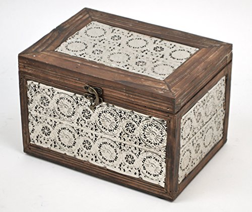 Concepts-Brown-And-Silver-Metal-recipes-Box-With-Lace-And-Metal-Locking-Clasp-6x9