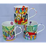Set of 3 Art Deco Design Fine Bone China Mugs