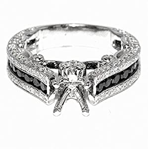 2.45ct Diamond Bridal Engagement Ring 14K White Gold Black White Diamonds Semi Mount Fits 1CT Princess