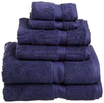 Superior 900 Gram Egyptian Cotton 6-Piece Towel Set, Navy Blue