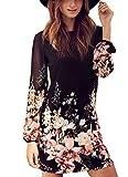Women's Sheath Floral Print Chiffon Dress (L, Black)