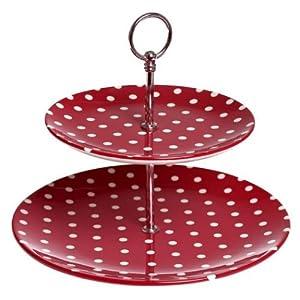 Red Polka Dot Spotty Ceramic Cake Stand