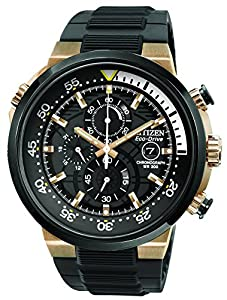 Citizen Endeavor Men's Quartz Watch with Black Dial Chronograph Display and Black Rubber Strap CA0448-08E