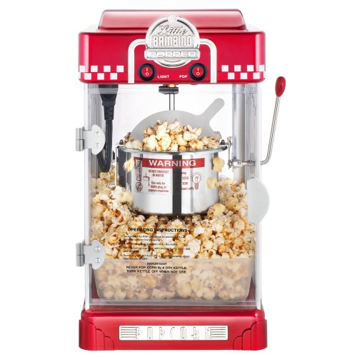 Great Northern Popcorn 2.5 Ounce Red Tabletop Retro Style Compact Popcorn Popper Machine with Removable Tray