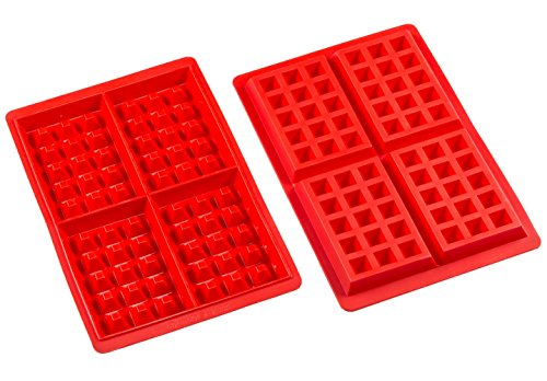 Sorbus® 4 Cavity Silicone Waffle Mold, Non-Stick, Easy To Clean, Oven / Microwave / Dishwasher / Freezer safe, Heat Resistant Up To 450°F (Set of 2) (Pan Waffles compare prices)