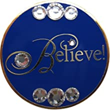 Believe in Gold with Swarovski Crystals Golf Ball Marker amp Snowflake Hat Clip