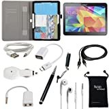 Samsung Galaxy Tab 4 10.1 Case - DigitalsOnDemand ® 10-Item Accessory Bundle - Leather Cover Case, Screen Protector, Stylus, USB, Car Charger, Earphones/Splitter, OTG & AUX Cable, Travel Bag