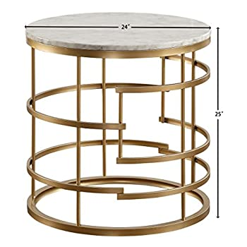 "Homelegance Brassica 24"" Round Faux Marble Top End Table, Gold"
