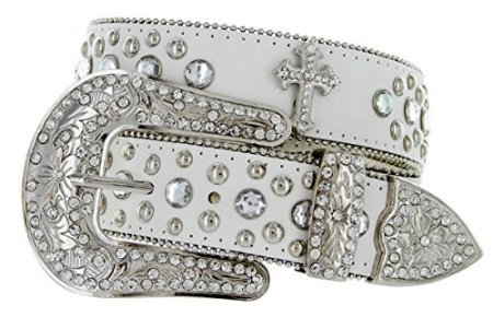 Western Crystal Rhinestone Cowgirl Studded Black Leather Cross Concho Belt