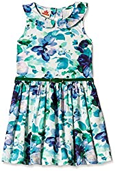 UFO Girls' Dress (AW16-WR-GKT-341_White and Green_2 - 3 years)
