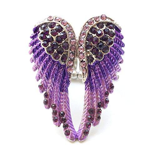 timando bague femme d aile d ange couleurs de motif avec strass de diamants violet argent. Black Bedroom Furniture Sets. Home Design Ideas