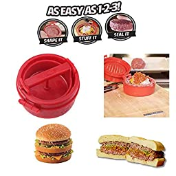PyLios(TM) Kitchen Accessories Red Cooking Tools Stuffed Hamburger Burger Press Mould Plastic Novelty Compact