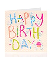 Girl Crayon Text Kids Birthday Card