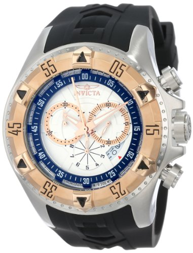 Invicta Men's 12696 Excursion Sport Chronograph Silver Dial Black Silicone Watch