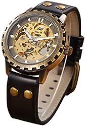 GuTe Retro Brass Unisex Auto Mechanical Wrist Watch Steampunk Luminous PU Black Strap