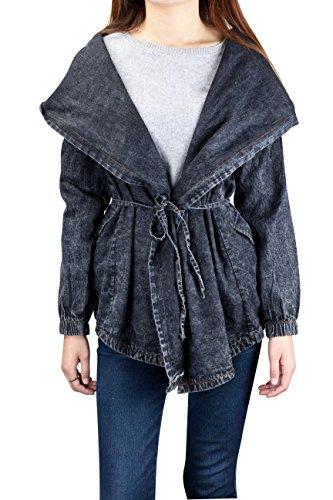Très Chic Mailanda Donna Moda Elegante Giacca Jeans Con Cappuccio Cardigan Capispalla Trench Coat (One Size, Nero)
