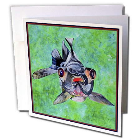 Gc_48473_2 Taiche - Acrylic Painting - Blackmoor Goldfish - Blackmoor Goldfish- Blackmoor Goldfish, Telescope Goldfish, Goldfish, Dragon Eye Goldfish - Greeting Cards-12 Greeting Cards With Envelopes