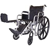 517SLUKwOqL. SL160  Self Transport Folding Wheelchair with Detachable Desk Armrests, Swing away Detachable Elevating Leg Rests, Solid Castors and Large Rolling Rear Wheels.