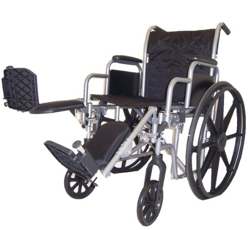 Self Transport Folding Wheelchair with Detachable Desk Armrests, Swing-away Detachable Elevating Leg Rests, Solid Castors and Large Rolling Rear Wheels.