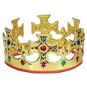 Unique Gold Plastic Jeweled King Crown by Unique