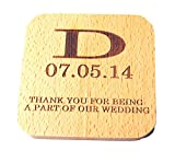 GP Personalized Table Square shape Bamboo Drinks Coaster for Wedding Free Engraved Any Text