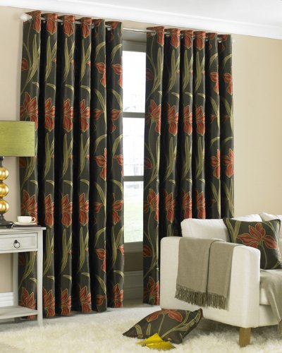 Alicia Eyelet Curtains, Terracotta, 66 x 90 Inch