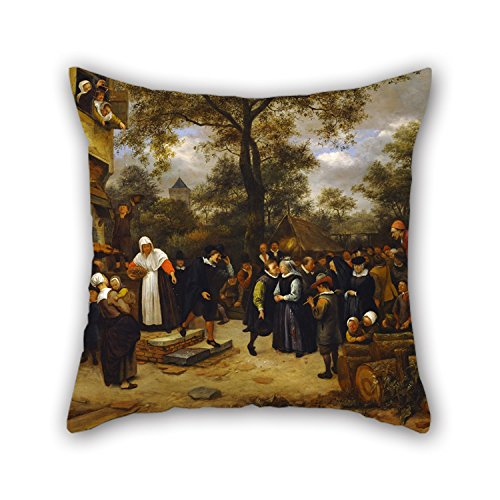 Artistdecor Oil Painting Jan Steen - Village Wedding Throw Pillow Covers 20 X 20 Inches / 50 By 50 Cm Best Choice For Seat,floor,divan,bedding,deck Chair,dance Room With Double Sides (Village Press Olive Oil compare prices)