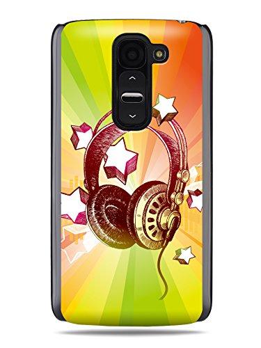 "Grüv Premium Case - ""Colorful Music Dj Headphones & Stars"" Design - Best Quality Designer Print On Black Hard Cover - For G2 Mini Ls885 D618"